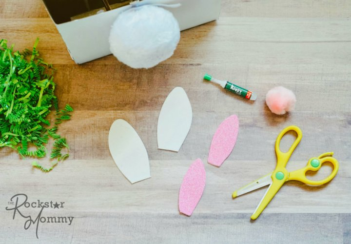 Easter Bunny Brew Gift - bunny ear pieces cut out on table -