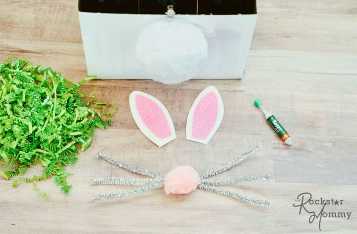 Easter Bunny Brew Gift - making whiskers and buny nose with pipe cleans and pom -