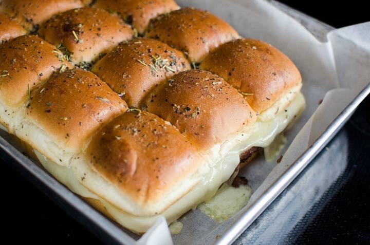 Easy Roast Beef Sliders - Baked slider in baking sheet