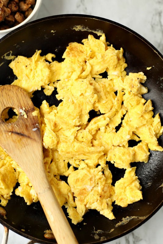 Homemade Breakfast Hot Pockets - Scrambling eggs in skillet