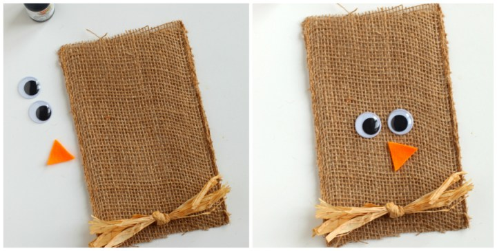 Scarecrow Halloween Goodie Bags - placing felt nose and google eyes on burlap bag.