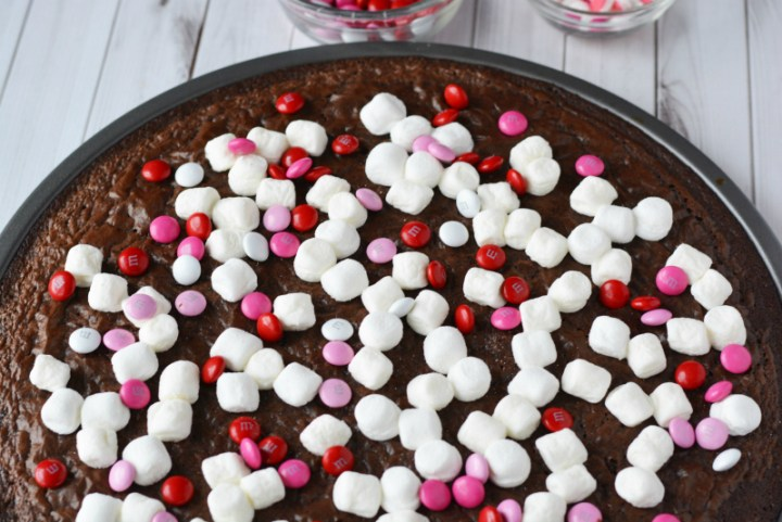 Valentines Day Brownie Pizza - marshmallows and candies added to the top of the brownie pizza