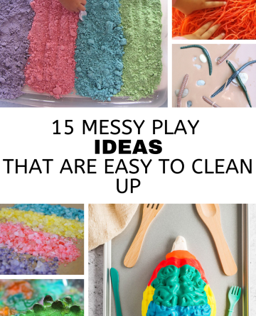 Collage images showing 6 different messy play activities