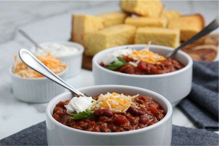 two bowls of chili