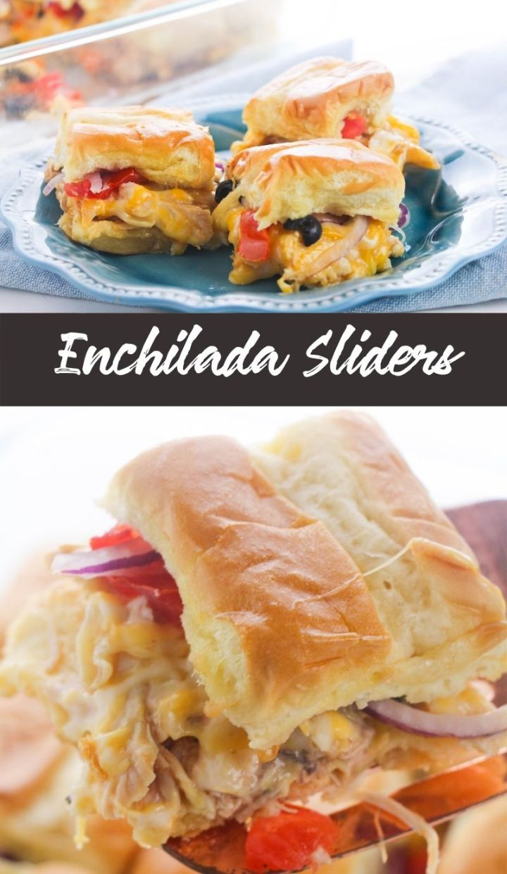 If you're looking for an easy meal to entice the whole family then these Enchilada Sliders stuffed with shredded chicken,veggies and cheese.