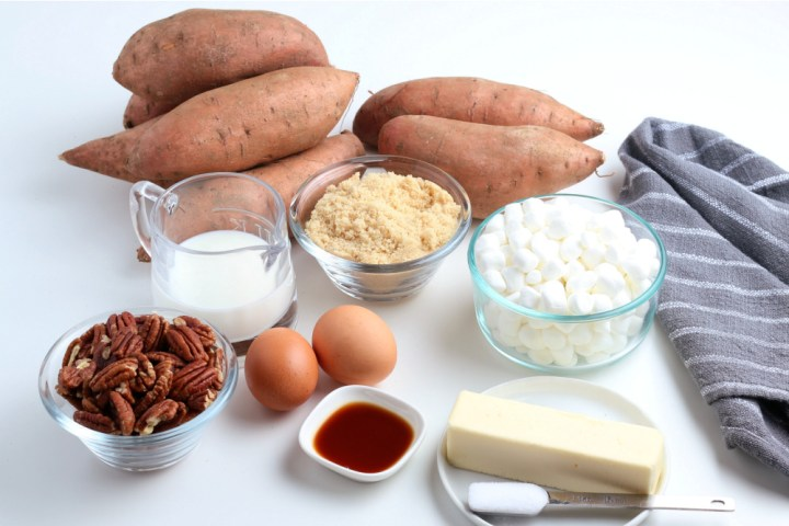 Ingredients for sweet potato casserole