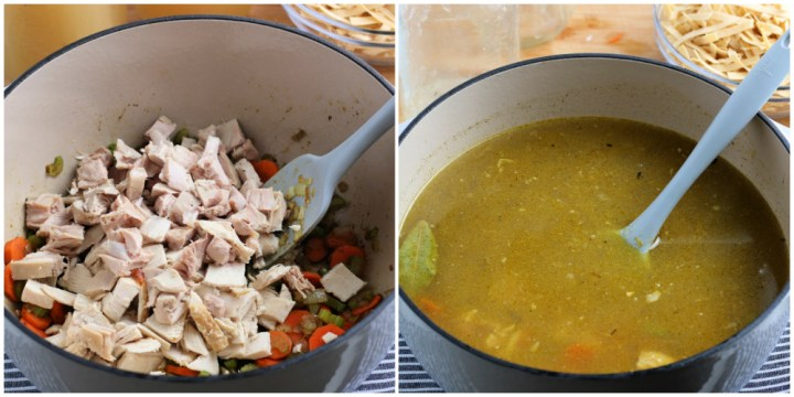two images showing turkey and stock being added to large soup pot