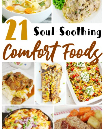 Collage image showing 7 different comfort food recipes.