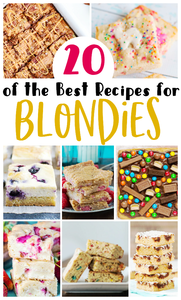 Collage image of 8 different blondies recipes