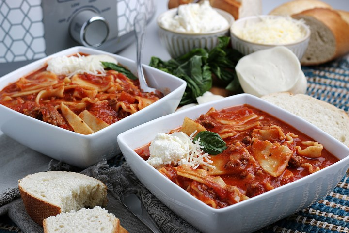 two bowls of lasagna soup