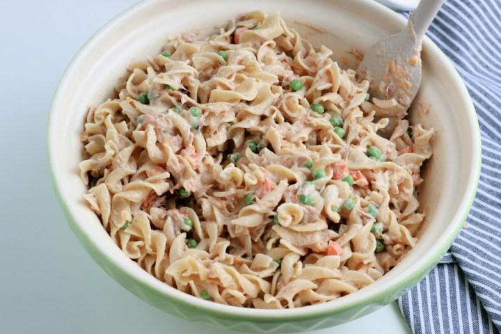 noodles mixed into tuna mixture