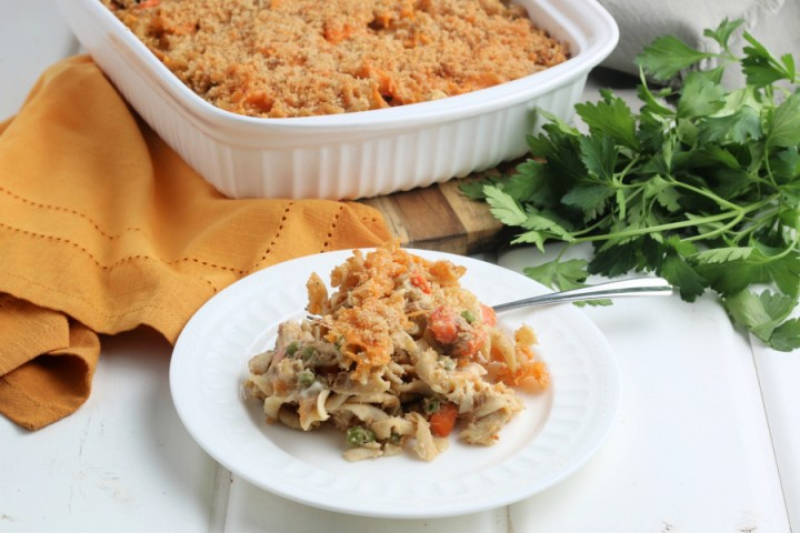 serving of classic tuna noodle casserole on a white plate