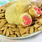Bunny Butt Funfetti shaped Cheese Ball on a plate with small cookies