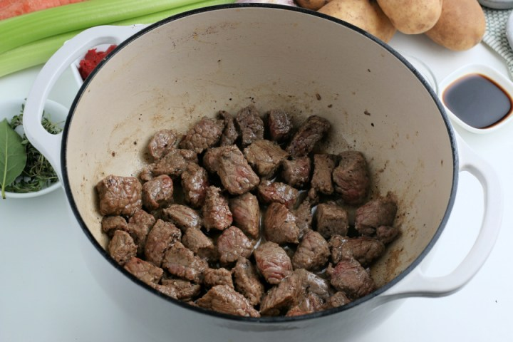 cooked beef in a cooking pot