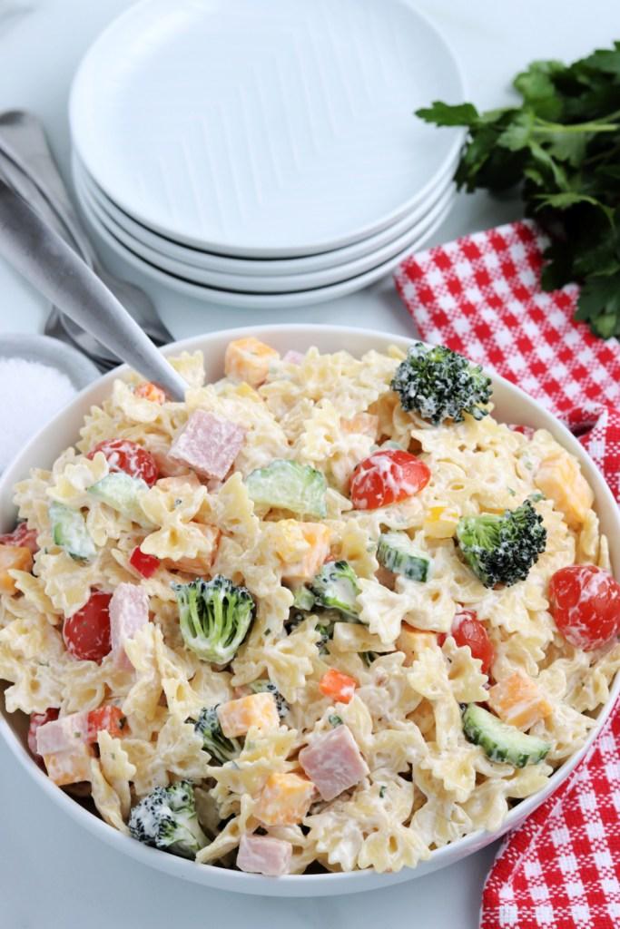 Summer Bowtie Pasta Salad in a serving bowl