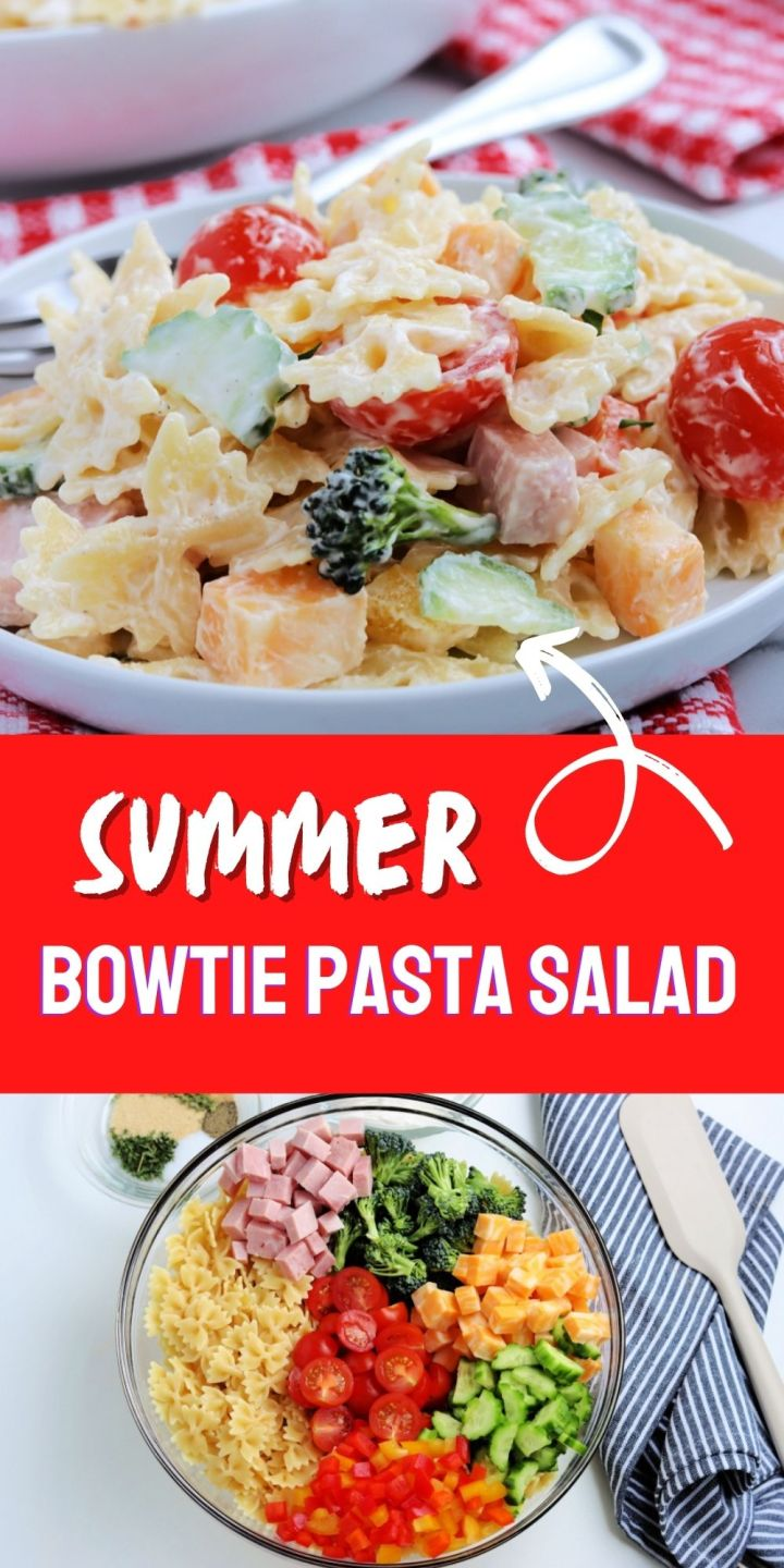 This Summer Bowtie Pasta Salad boasts the freshest of produce, whether store-bought or plucked from your own home garden.