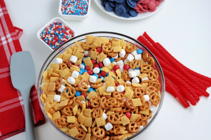 cereal, pretzels, marshmallows, and candies in a bowl