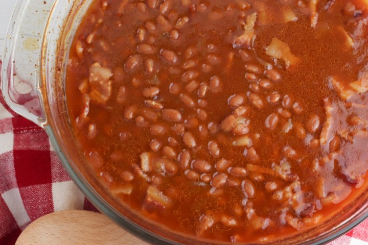 cooked baked beans in baking dish