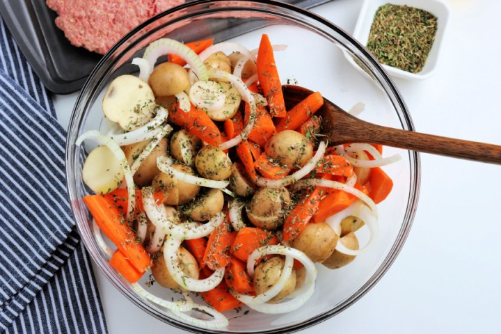vegetables and and seasoning in a bowl