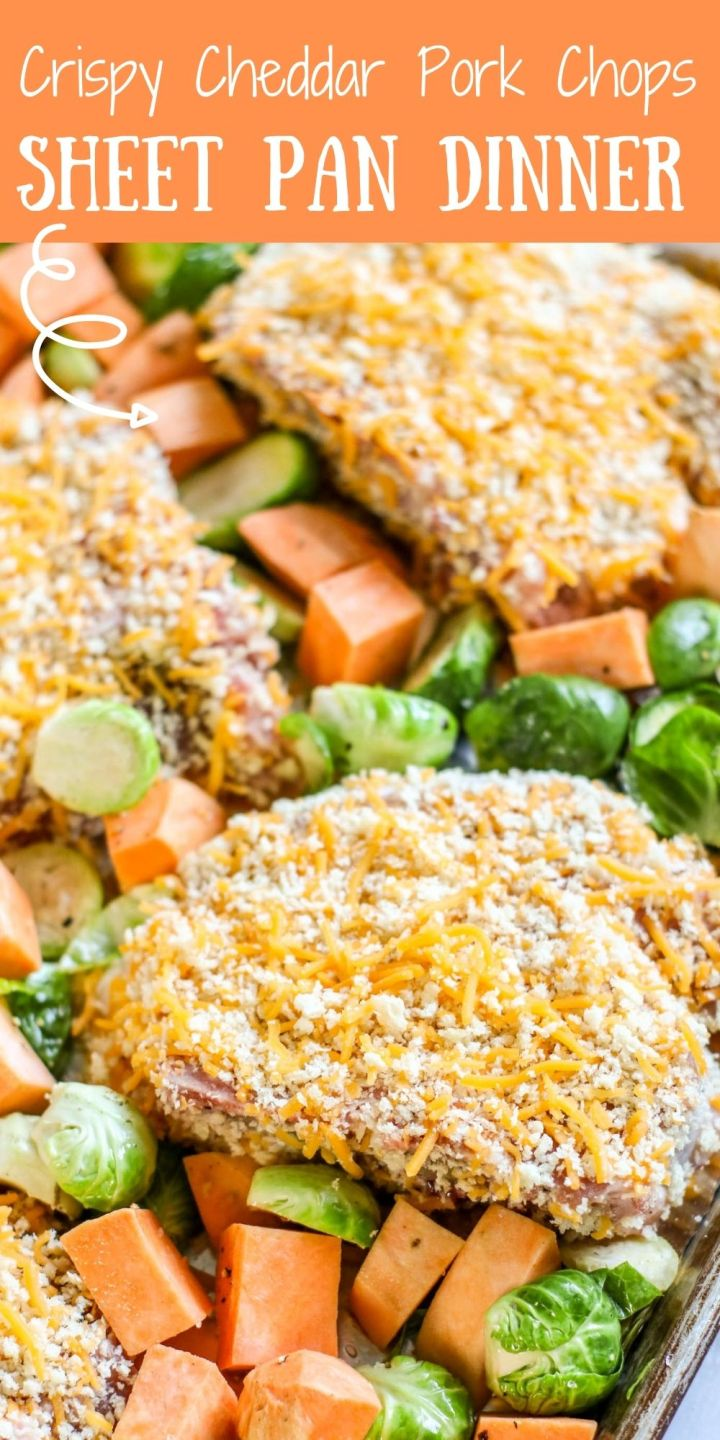 Looking for another great sheet pan meal that you can whip up with ease? Then this Crispy Cheddar Pork Chops Sheet Pan Dinner if for you!
