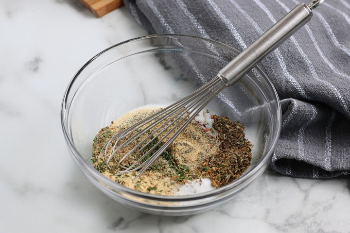 mix together seasoning in bowl