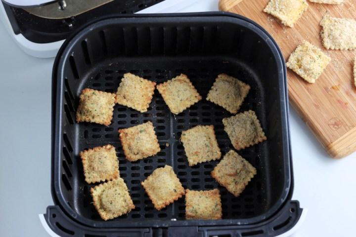 cooked ravioli in air fryer