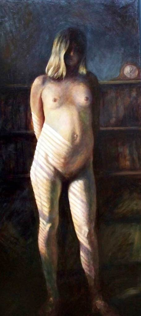 Claire Standing, oil, 84 x 41, by David Settino Scott: http://www.davidsettinoscott.com.