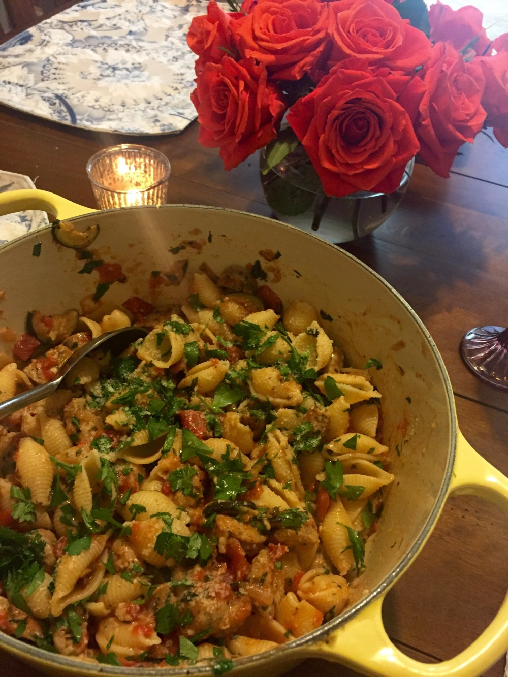 Fresh Zucchini Pasta with Chicken Sausage | The Rose Table