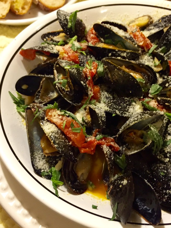 Steamed Mussels with Fresh Tomatoes and Parmesan