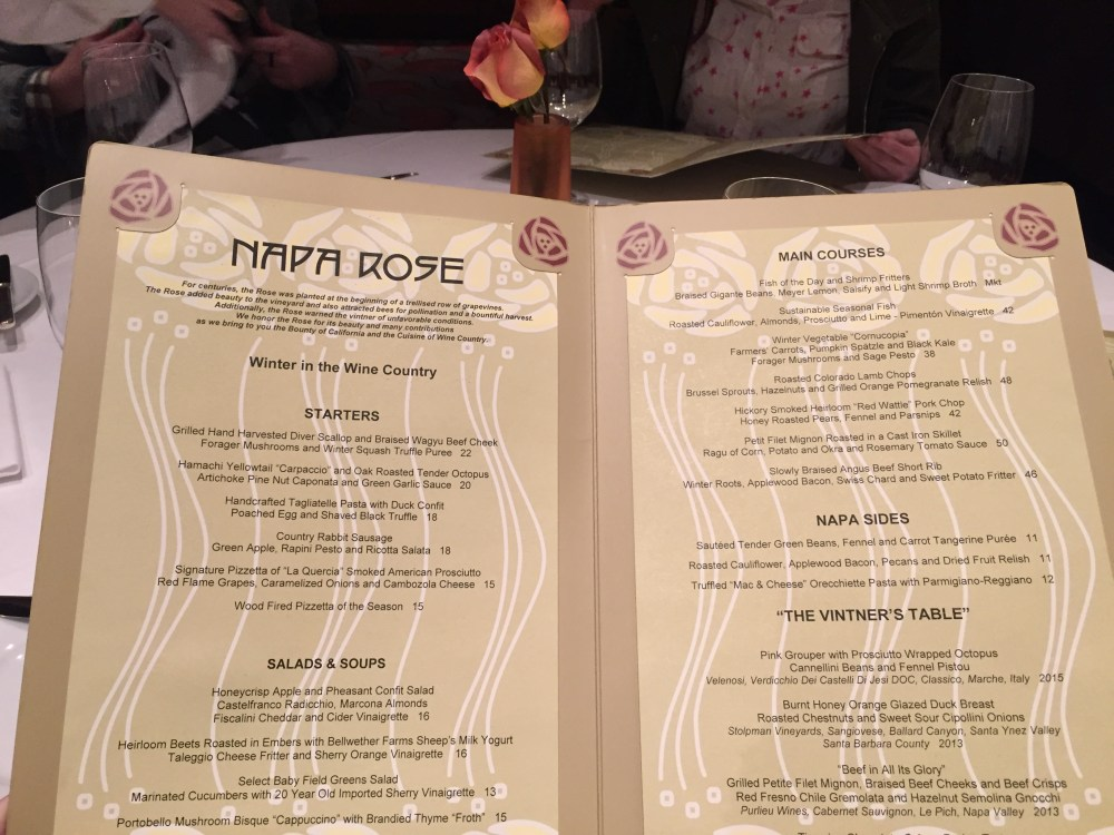 Napa Rose Disneyland Review   The Rose Table