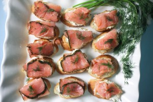 Smoked Salmon Crostini   The Rose Table, Frozen recipes, adult Frozen dinner party