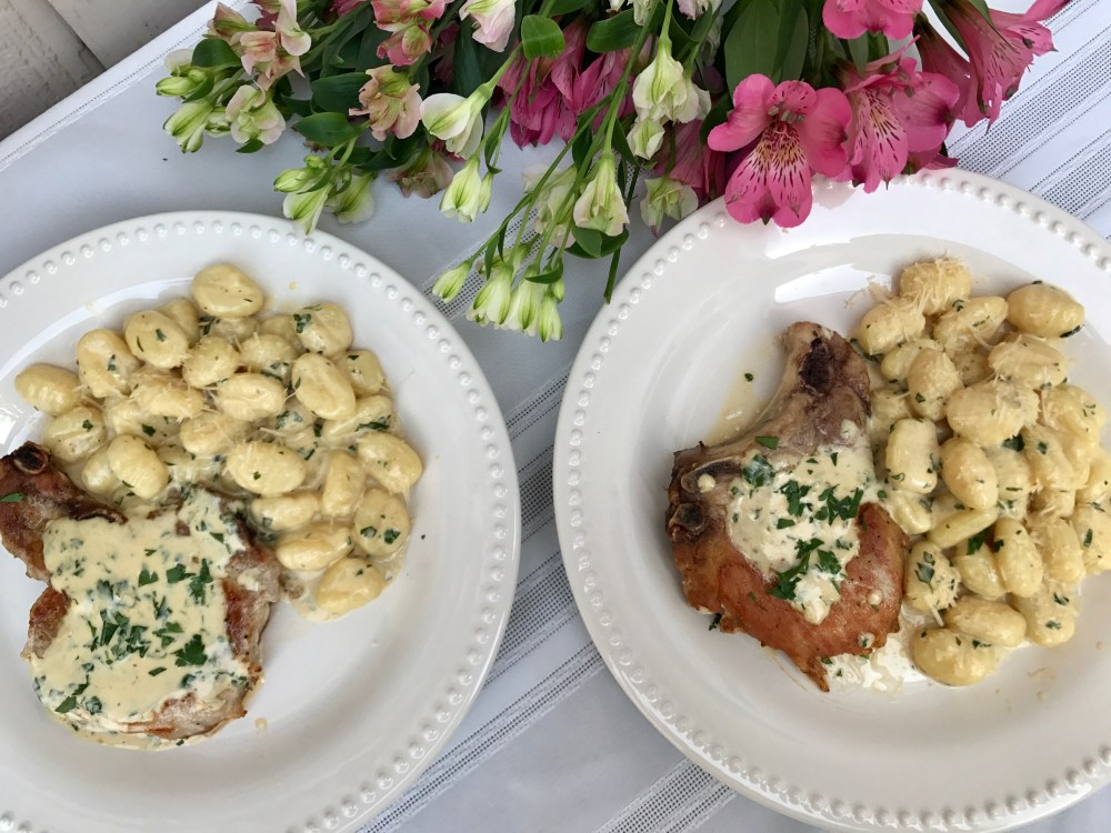 Mustard Cream Pork Chops and Gnocchi | The Rose Table