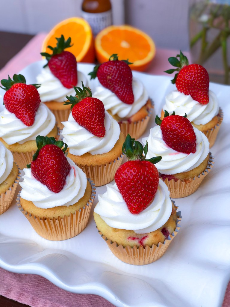 Strawberry Orange Cupcakes with Fresh Strawberries   The Rose Table