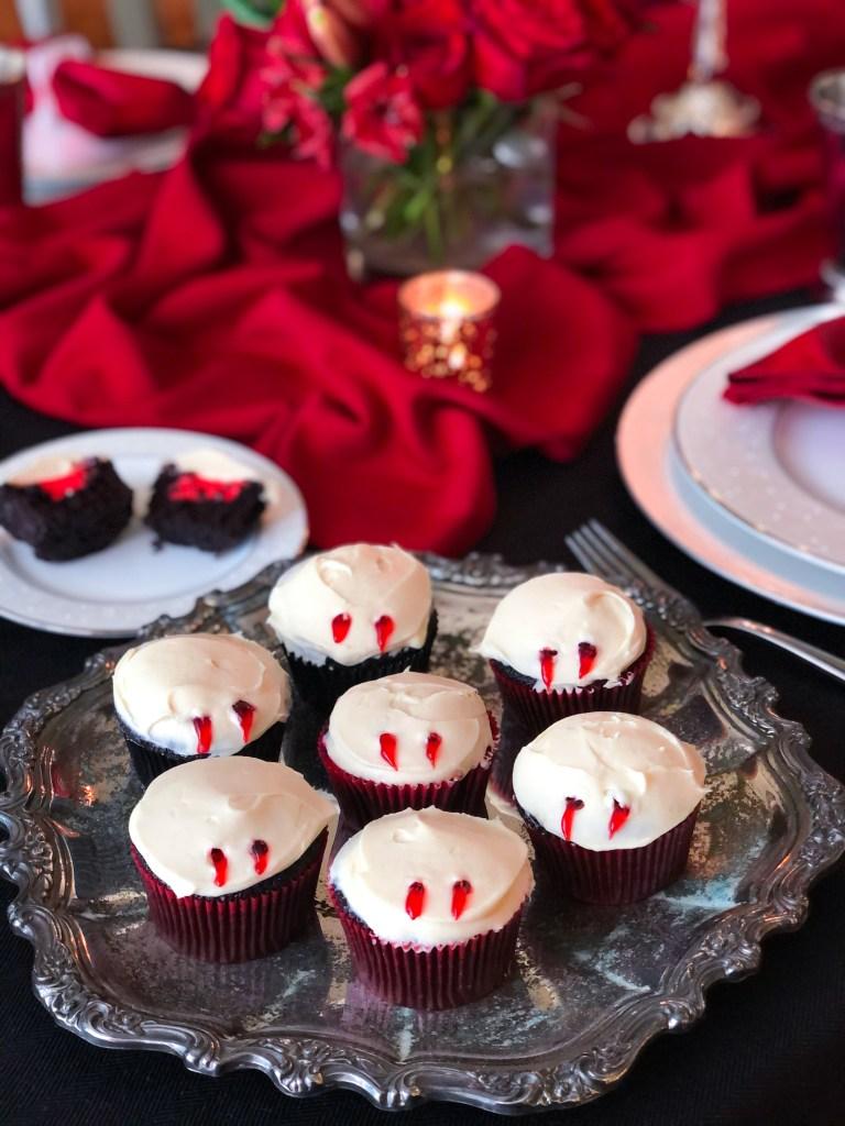 Bloody Vampire Bite Cupcakes