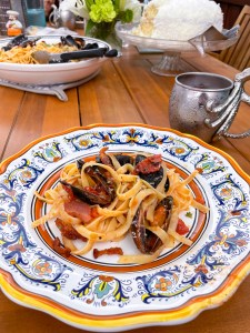 Fettucini with Mussels and Bacon