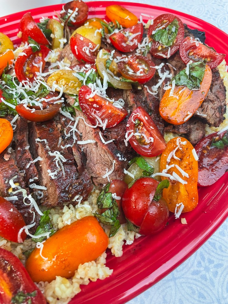 Tomato Basil Flank Steak   Easy Grill Dinners