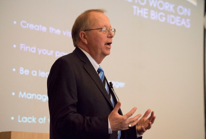"Former Pierce College President, Darroch ""Rocky"" Young, gives a presentation on leadership in the Great Hall of Pierce College in Woodland Hills, Calif., on Monday, May 5, 2014. Photo: Fidencio Marin"
