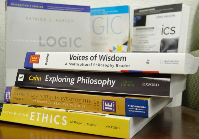 These Philosophy books sit in Professor Cara Gillis' bookshelf in Faculty Office 2603 at Pierce College on Wednesday, March 30, 2016 in Woodland Hills, Calif. Professors are prohibited from selling these books as specifically printed on these books. Photo: Laura Chen
