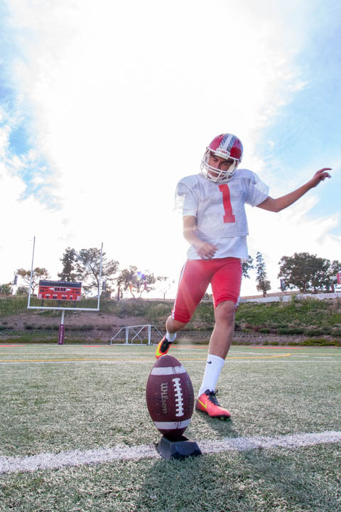 Kevin Robledo, freshman kicker for the Pierce College football team, is 10 for 12 in field goals this season and the team's leading scorer. The economics major hopes to transfer to a Division 1 college and play in the NFL. Robledo poses for a portrait during practice on October 10, 2016 at Pierce College's John Shepard Stadium in Woodland Hills, California. Photo by Calvin B. Alagot / Roundup