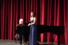 Cassandra Leisher, Voice, and Lance Merrill, Accompanist, practices during AMP Recital in Woodland Hills, Calif on Nov. 1, 2018