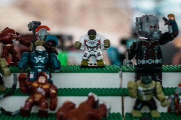 A lego hulk is displayed at the Vintage Market at Pierce College in Woodland Hills, Calif., on Sept. 22, 2019. Photo by Katya Castillo.