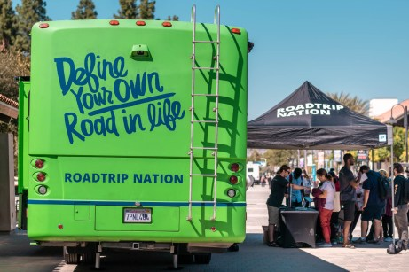 Roadtrip Nation parks their van on the Mall at Pierce College in Woodland Hills, Calif., on Oct. 3, 2019. They are helping students sign up for the program Roadmap to Careers, which helps people discover how their interests can evolve into a career. Photo by Katya Castillo.