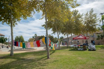 Colorful t-shirts with hand-written words printed on them are seen hanging at Rocky Young Park during the Clothesline Project on Wednesday, October 16, 2019, in Woodland Hills, Calif. (Photo by Kevin Lendio)