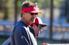 Head Coach Bill Picketts speaks to players after Pierce College Baseball's Halloween Backwards Game at Joe Kelly Field in Woodland Hills, Calif. on Oct. 31, 2019. Photo by Benjamin Hanson.