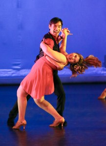 Derek Kosol and Yesenia Alvarado practice during the Alert the Cul de Sac dress rehearsal in the Performing Arts Building Mainstage in Woodland Hills, Calif. on Nov. 14, 2019. Photo by Cecilia Parada.