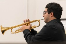 Ara Mardirossan plays the trumpet in the music performance portion of the Art Walk on the Art Hill at Pierce College in Woodland Hills, Calif., on Nov. 7, 2019. Photo by Katya Castillo.