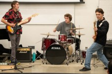 (Left to right) Zachary Friday, Connor Triestsch and Connor Scheff perform in the music performance portion of the Art Walk on the Art Hill at Pierce College in Woodland Hills, Calif., on Nov. 7, 2019. Photo by Katya Castillo.