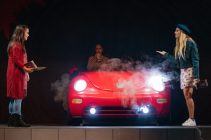 """(Left to right) Alexa Maris, Loida Navas and Sierra Van Der Burg rehearse for the Pierce production of """"Hookman"""" in the Performing Arts Building at Pierce College in Woodland Hills, Calif., on Oct. 14, 2019. Photo by Katya Castillo."""
