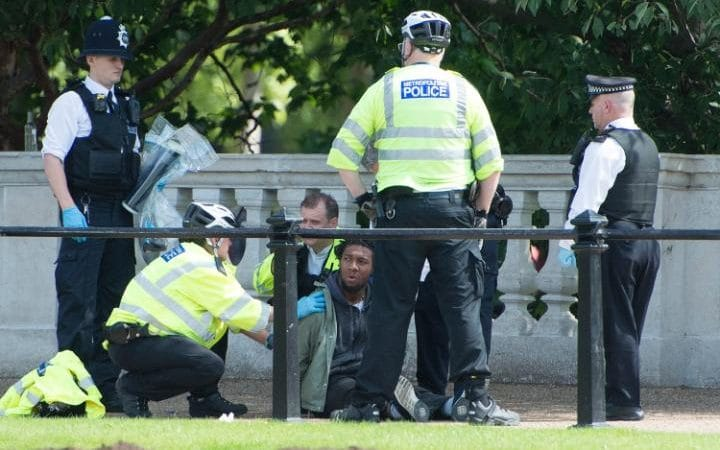 A man is detained by police on The Mall near Buckingham Palace