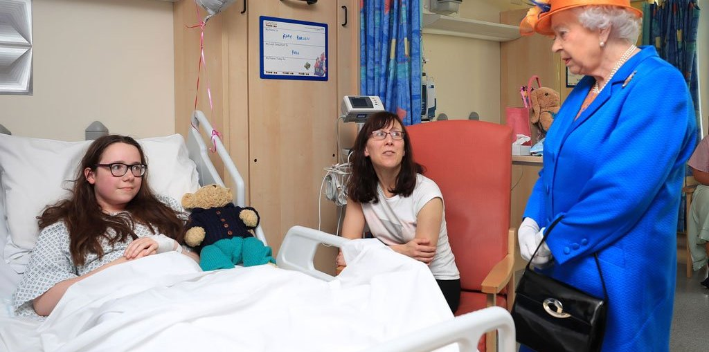 Whilst at the hospital in Manchester, The Queen spoke to 12-year-old Amy Barlow, from Rawtenstall, and her mum, Kathy.